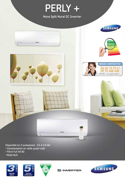 Climatisation samsung perly ar09fsftkwqn for Climatiseur mural ne refroidit plus