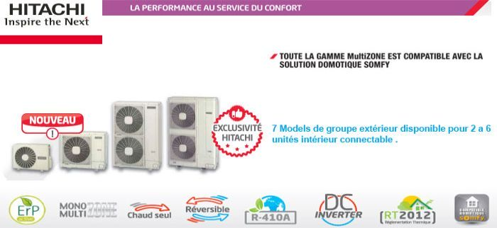 Multisplit Inverter HItachi de 2 a 6 unites interieur connectable