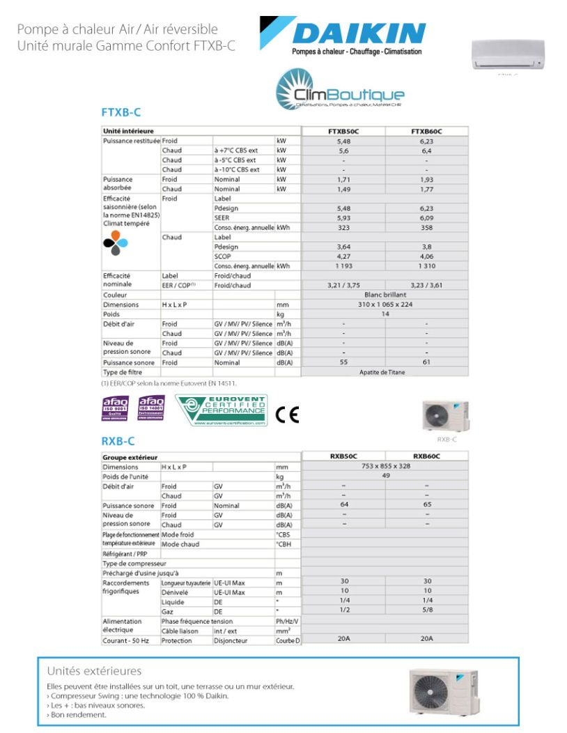 Specification technique climatiseur daikin FTXB5060C