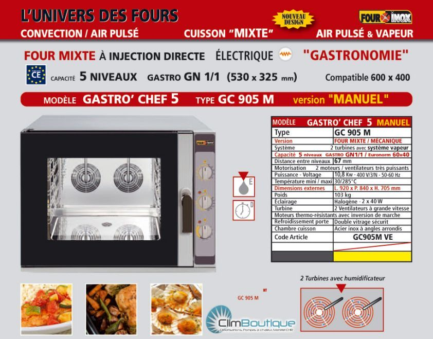 Four professionel mixte air pulsé inox GC905M