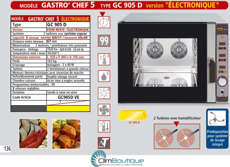 Four mixte professionel inox GC905D electronique