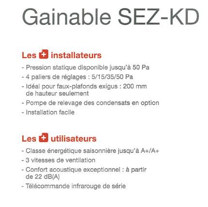 Clim gainable Mitsubishi SEZ-KD