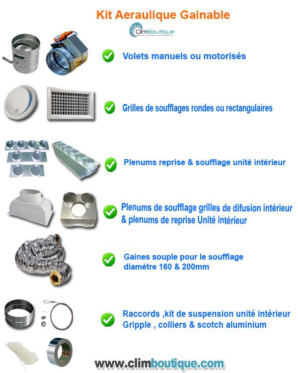 Ensemble accessoires aeraulique pour climatiseurs gainable
