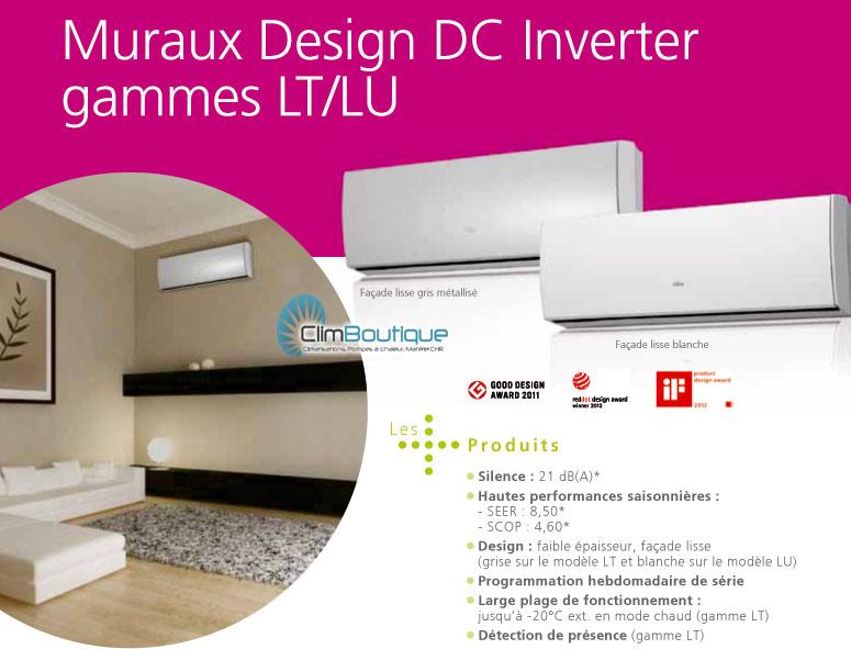 Nouveaux climatiseurs mureaux Fujitsu atlantic LT et LU