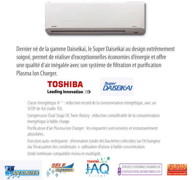 Options du climatiseur Toshiba super daiseikai
