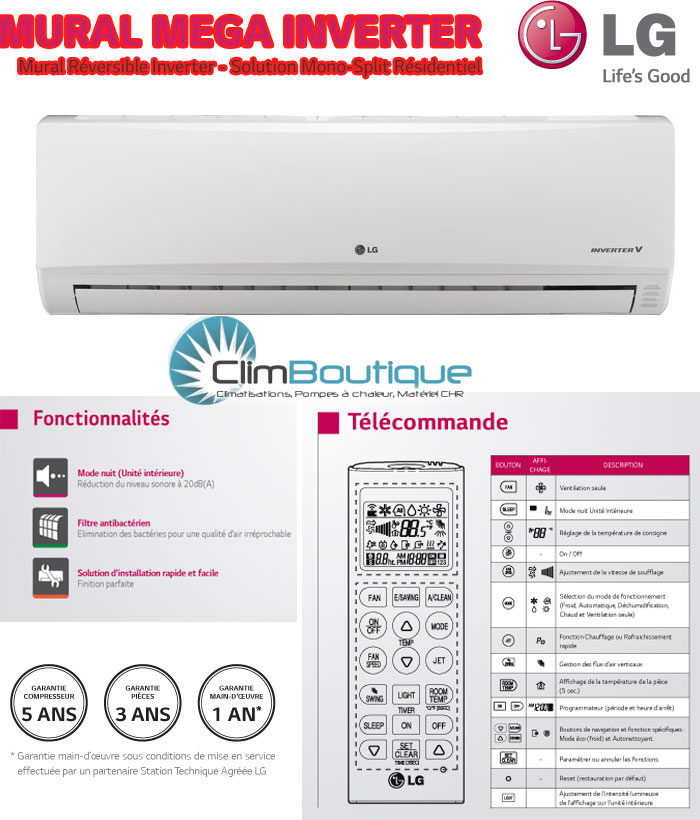 Options du climatiseur LG mega inverter