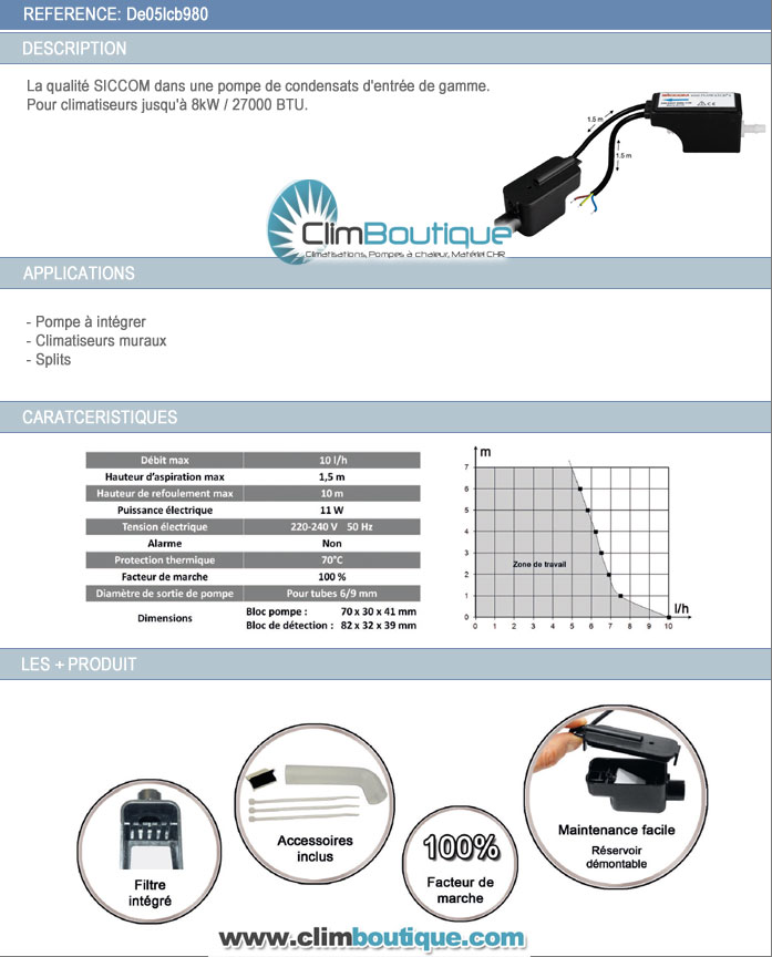 Specifications pompe de relevage siccom miniflowatch 0