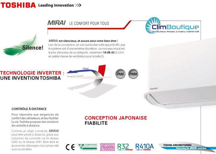 Climatiseur Toshiba Mirai inverter 2016