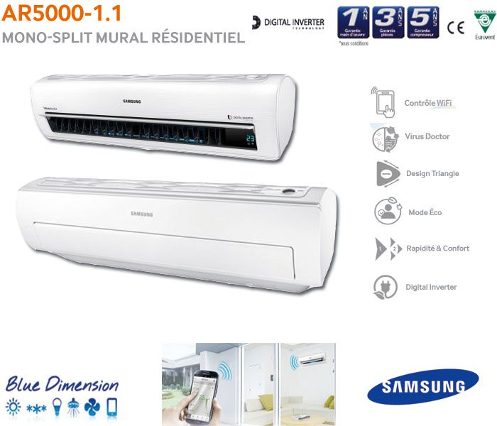 Clim samsung mistral 2014 blue dimention