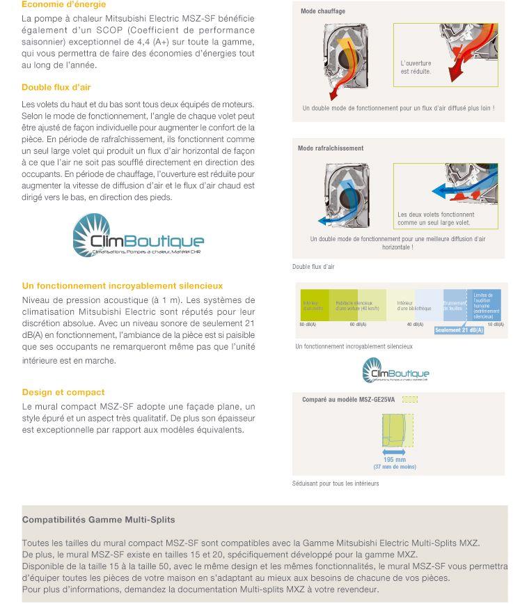 Confort & economies d'energie Mitsubishi sf