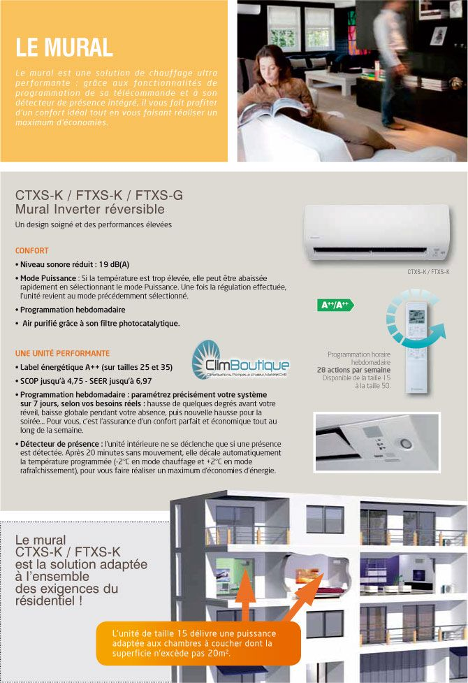 Climatiseurs Daikin FTXS-K performances