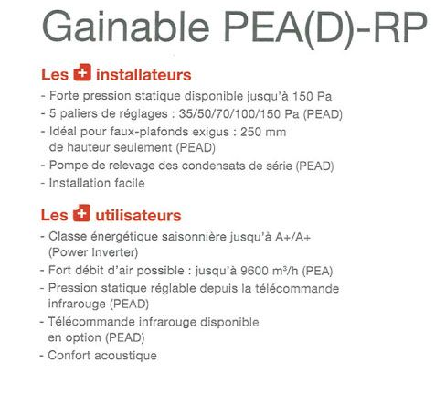 Avantages du gainable Mitsubishi PEAD-RP