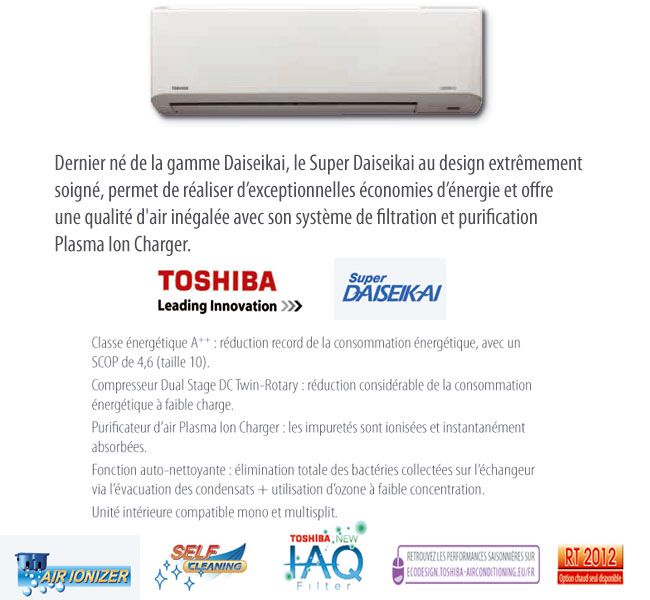 Options du climatiseur Toshiba super daiseikai