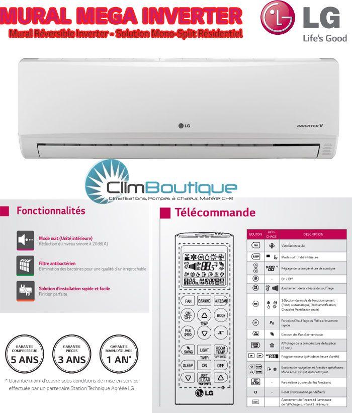 Options du climatiseur LG mega inverter