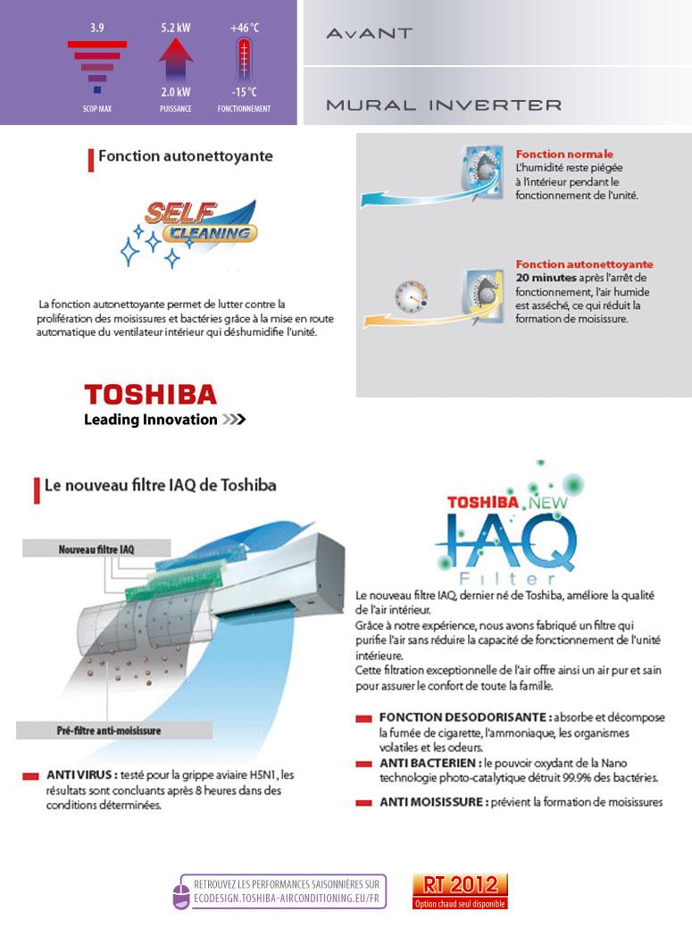 Fonctions du Toshiba avant