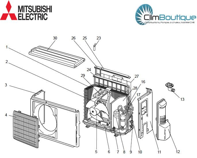 Pieces detachees mitsubishi electric mu ge50vb e1 - Groupe exterieur mitsubishi ...